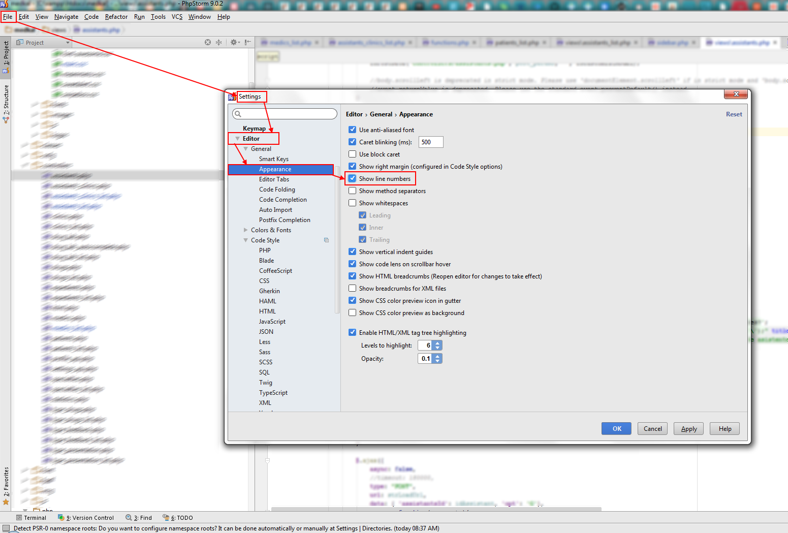 how_to_show_line_numbers_phpstorm